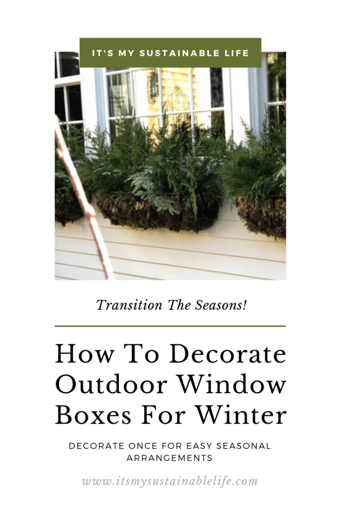 How to decorate outdoor window boxes for the winter pinnable image for Pinterest